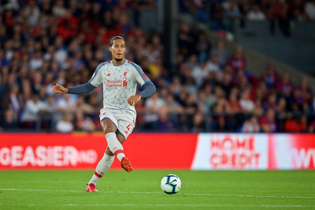 LONDON, ENGLAND - Monday, August 20, 2018: Liverpool's Virgil van Dijk during the FA Premier League match between Crystal Palace and Liverpool FC at Selhurst Park. (Pic by David Rawcliffe/Propaganda)