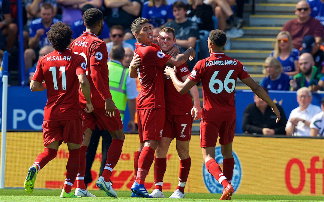 LEICESTER, ENGLAND - Saturday, September 1, 2018: Liverpool's Roberto Firmino celebrates scoring the second goal with team-mates during the FA Premier League match between Leicester City and Liverpool at the King Power Stadium. (Pic by David Rawcliffe/Propaganda)