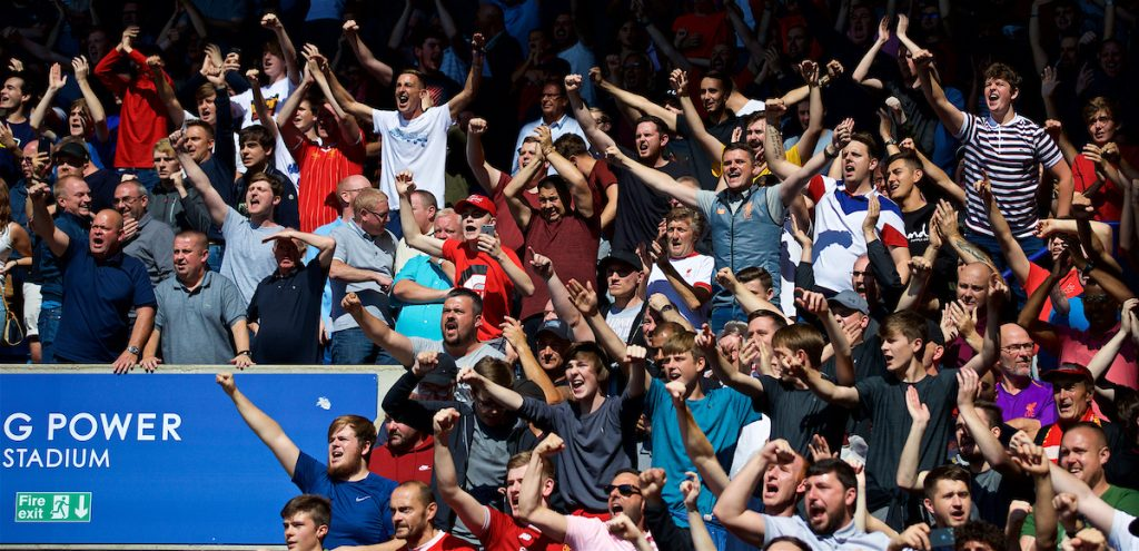 LEICESTER, ENGLAND - Saturday, September 1, 2018: Liverpool supporters celebrate 2-1 victory after the FA Premier League match between Leicester City and Liverpool at the King Power Stadium. (Pic by David Rawcliffe/Propaganda)