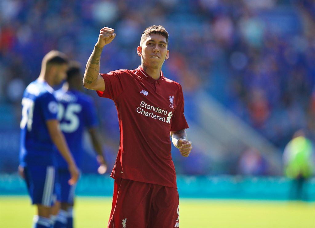 LEICESTER, ENGLAND - Saturday, September 1, 2018: Liverpool's Roberto Firmino celebrates 2-1 victory after the FA Premier League match between Leicester City and Liverpool at the King Power Stadium. (Pic by David Rawcliffe/Propaganda)