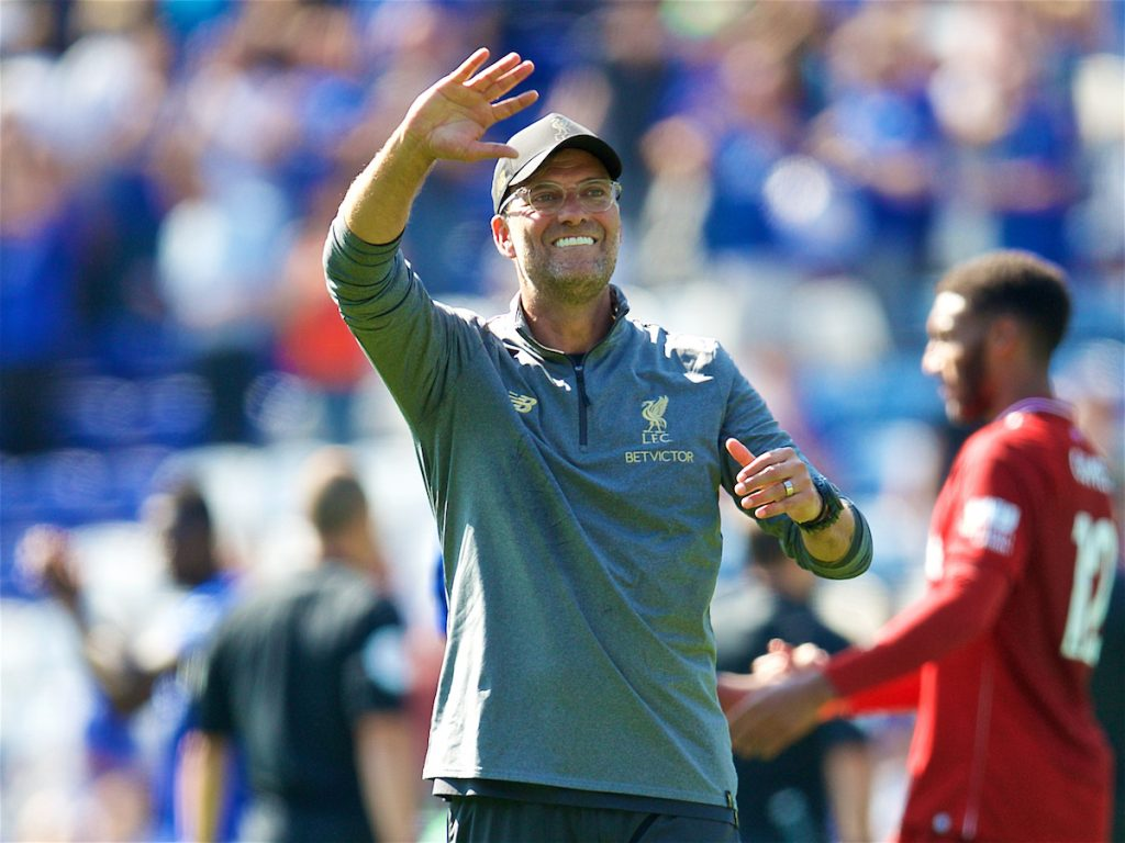 LEICESTER, ENGLAND - Saturday, September 1, 2018: Liverpool's manager Jürgen Klopp celebrates 2-1 victory after the FA Premier League match between Leicester City and Liverpool at the King Power Stadium. (Pic by David Rawcliffe/Propaganda)
