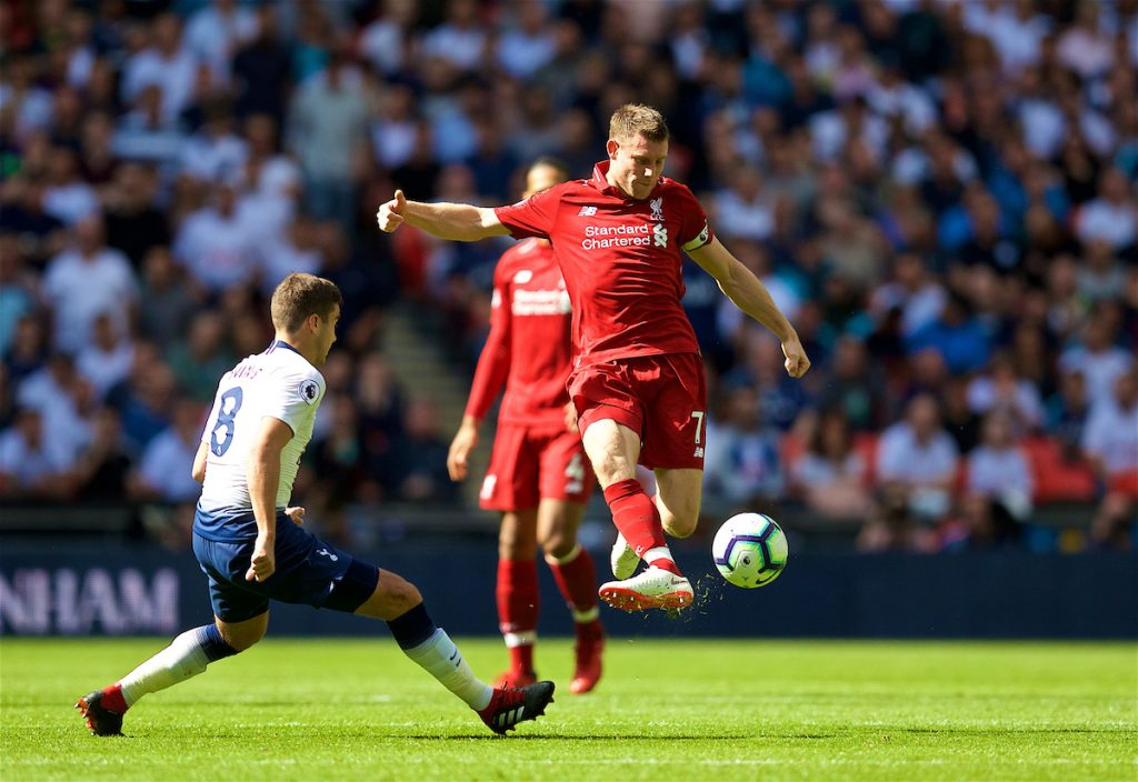LONDON, ENGLAND - Saturday, September 15, 2018: Liverpool's James Milner during the FA Premier League match between Tottenham Hotspur FC and Liverpool FC at Wembley Stadium. (Pic by David Rawcliffe/Propaganda)