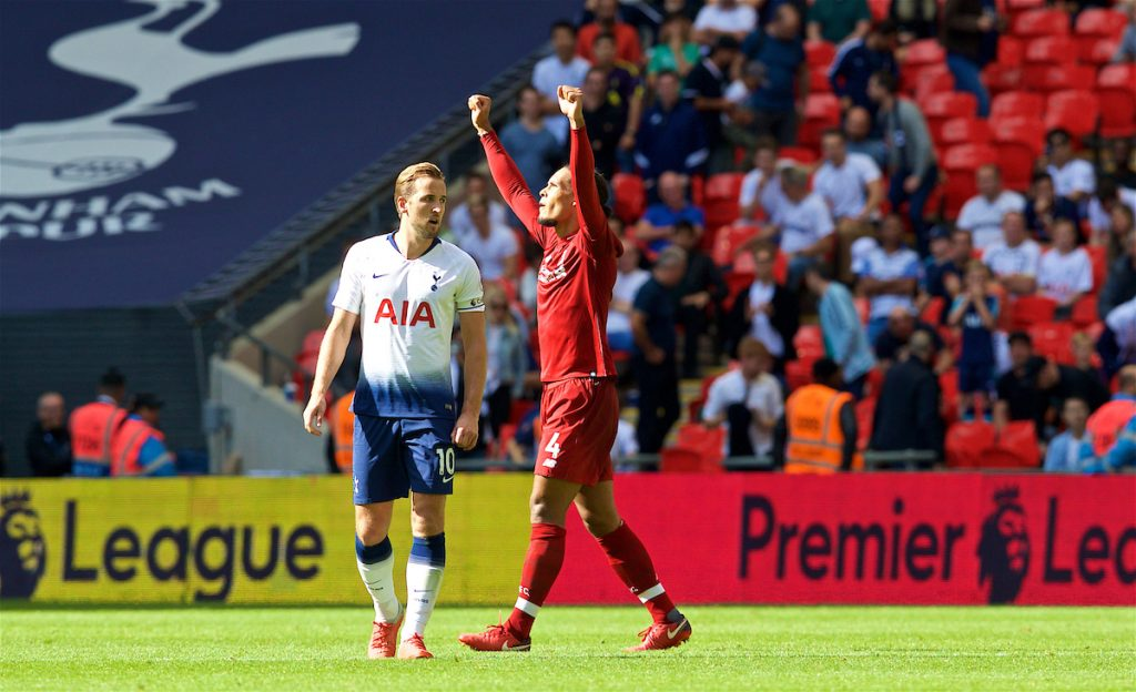 LONDON, ENGLAND - Saturday, September 15, 2018: Liverpool's Virgil van Dijk celebrates at the final wistle as Tottenham Hotspur's Harry Kane looks dejected after the FA Premier League match between Tottenham Hotspur FC and Liverpool FC at Wembley Stadium. Liverpool won 2-1. (Pic by David Rawcliffe/Propaganda)