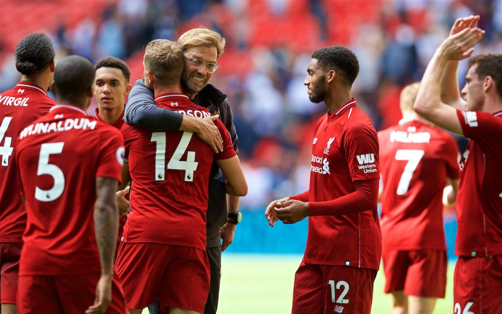 LONDON, ENGLAND - Saturday, September 15, 2018: Liverpool's manager J¸rgen Klopp embraces captain Jordan Henderson as they celebrate after the FA Premier League match between Tottenham Hotspur FC and Liverpool FC at Wembley Stadium. Liverpool won 2-1. (Pic by David Rawcliffe/Propaganda)