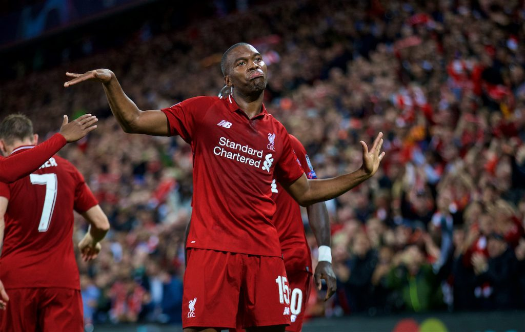 LIVERPOOL, ENGLAND - Tuesday, September 18, 2018: Liverpool's Daniel Sturridge celebrates scoring the first goal during the UEFA Champions League Group C match between Liverpool FC and Paris Saint-Germain at Anfield. (Pic by David Rawcliffe/Propaganda)