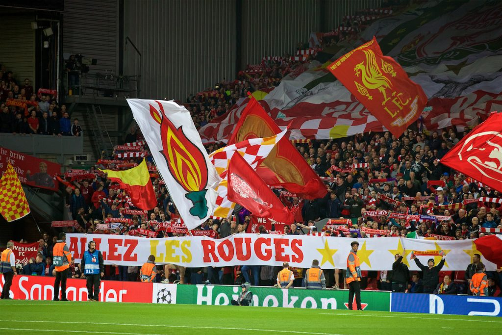 "LIVERPOOL, ENGLAND - Tuesday, September 18, 2018: Liverpool supporters' banner on the Spion Kop ""Allez Les Rouges"" during the UEFA Champions League Group C match between Liverpool FC and Paris Saint-Germain at Anfield. (Pic by David Rawcliffe/Propaganda)"
