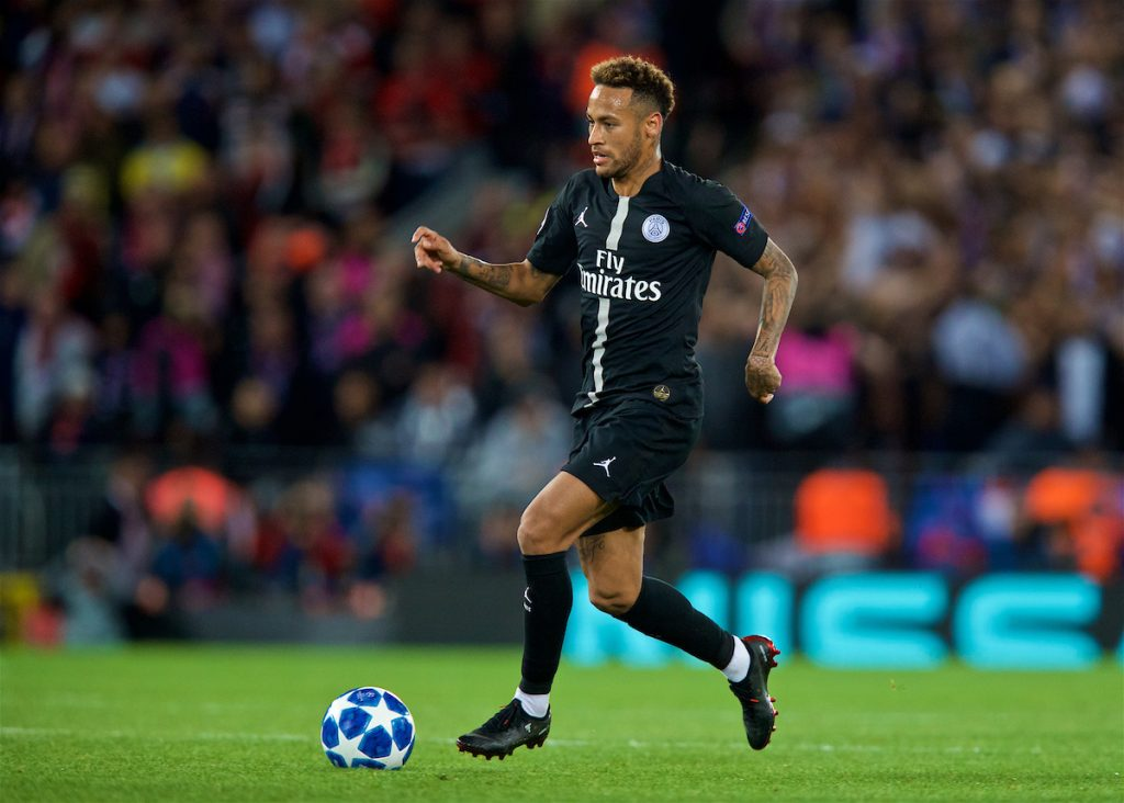 LIVERPOOL, ENGLAND - Tuesday, September 18, 2018: Paris Saint-Germain's Neymar da Silva Santos Júnior during the UEFA Champions League Group C match between Liverpool FC and Paris Saint-Germain at Anfield. (Pic by David Rawcliffe/Propaganda)