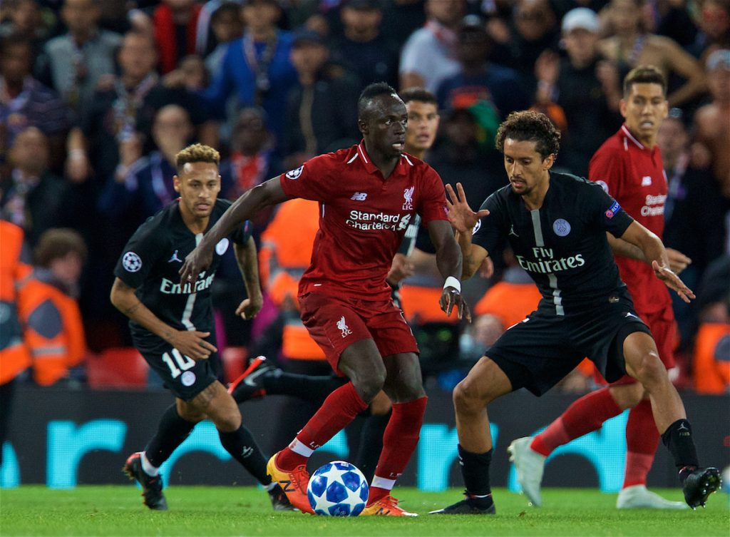 LIVERPOOL, ENGLAND - Tuesday, September 18, 2018: Liverpool's Sadio Mane during the UEFA Champions League Group C match between Liverpool FC and Paris Saint-Germain at Anfield. (Pic by David Rawcliffe/Propaganda)