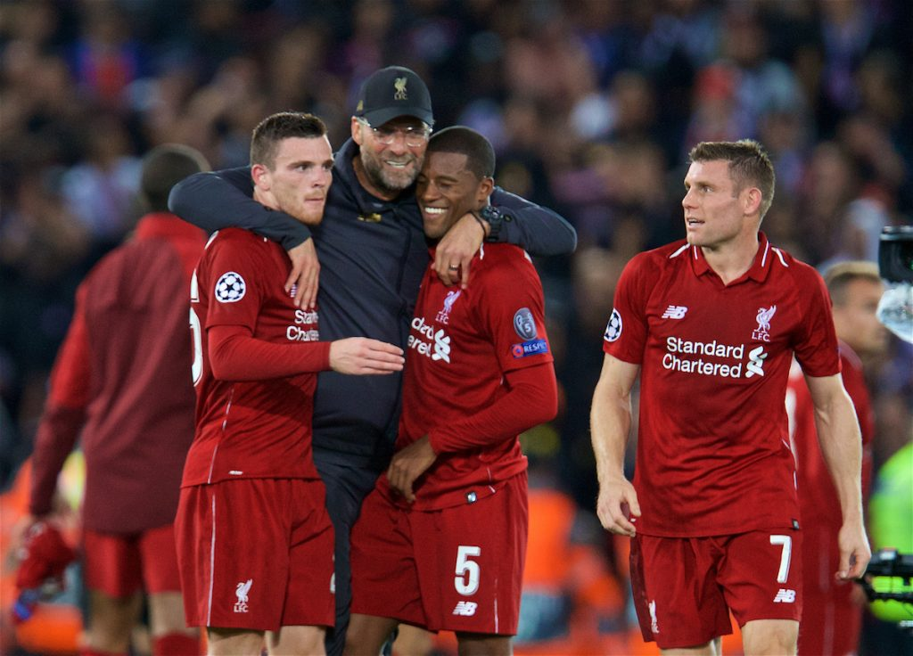 LIVERPOOL, ENGLAND - Tuesday, September 18, 2018: Liverpool's manager Jürgen Klopp (2nd left) celebrates with Andy Robertson (left), Georginio Wijnaldum (2nd right) and James Milner (right) after the UEFA Champions League Group C match between Liverpool FC and Paris Saint-Germain at Anfield. Liverpool won 3-2. (Pic by David Rawcliffe/Propaganda)