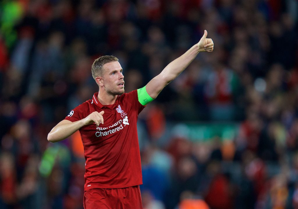 LIVERPOOL, ENGLAND - Tuesday, September 18, 2018: Liverpool's captain Jordan Henderson celebrates after the UEFA Champions League Group C match between Liverpool FC and Paris Saint-Germain at Anfield. Liverpool won 3-2. (Pic by David Rawcliffe/Propaganda)