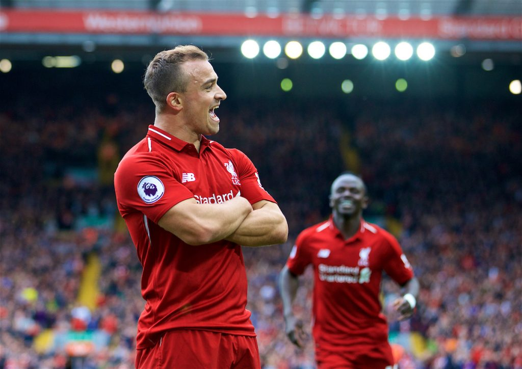 LIVERPOOL, ENGLAND - Saturday, September 22, 2018: Liverpool's Xherdan Shaqiri celebrates creating the first goal, an own goal by Wesley Hoedt, during the FA Premier League match between Liverpool FC and Southampton FC at Anfield. (Pic by Jon Super/Propaganda)