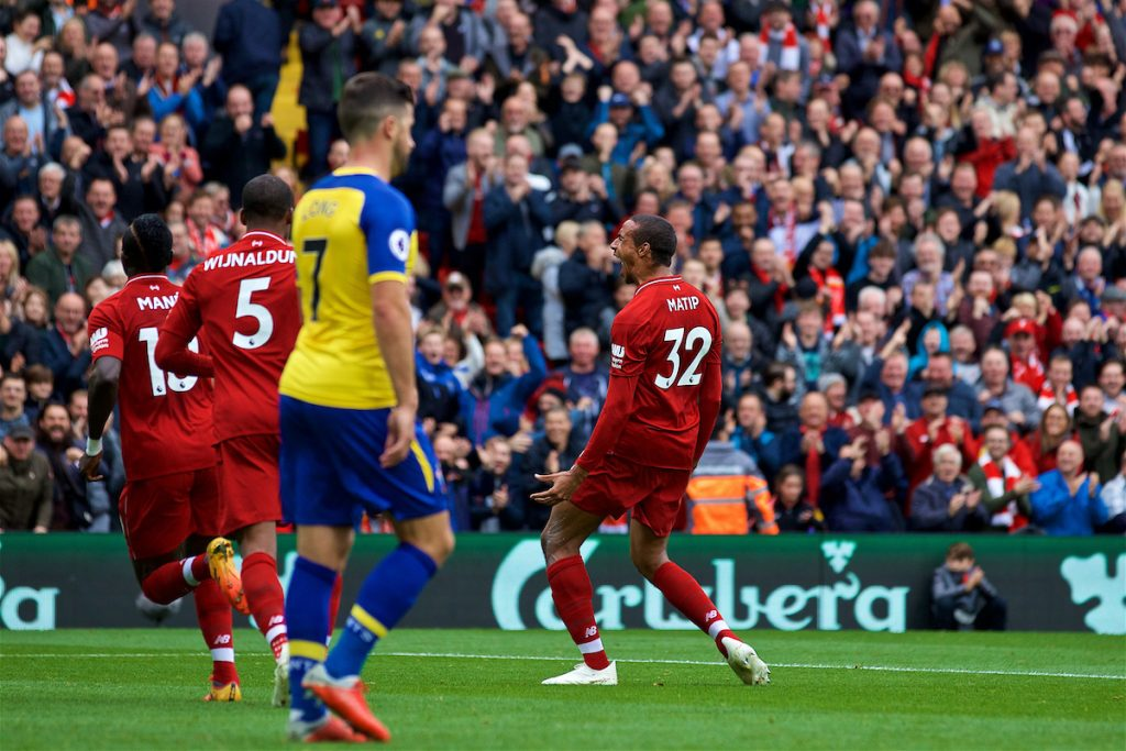 LIVERPOOL, ENGLAND - Saturday, September 22, 2018: Liverpool's Joel Matip celebrates scoring the second goal during the FA Premier League match between Liverpool FC and Southampton FC at Anfield. (Pic by Jon Super/Propaganda)