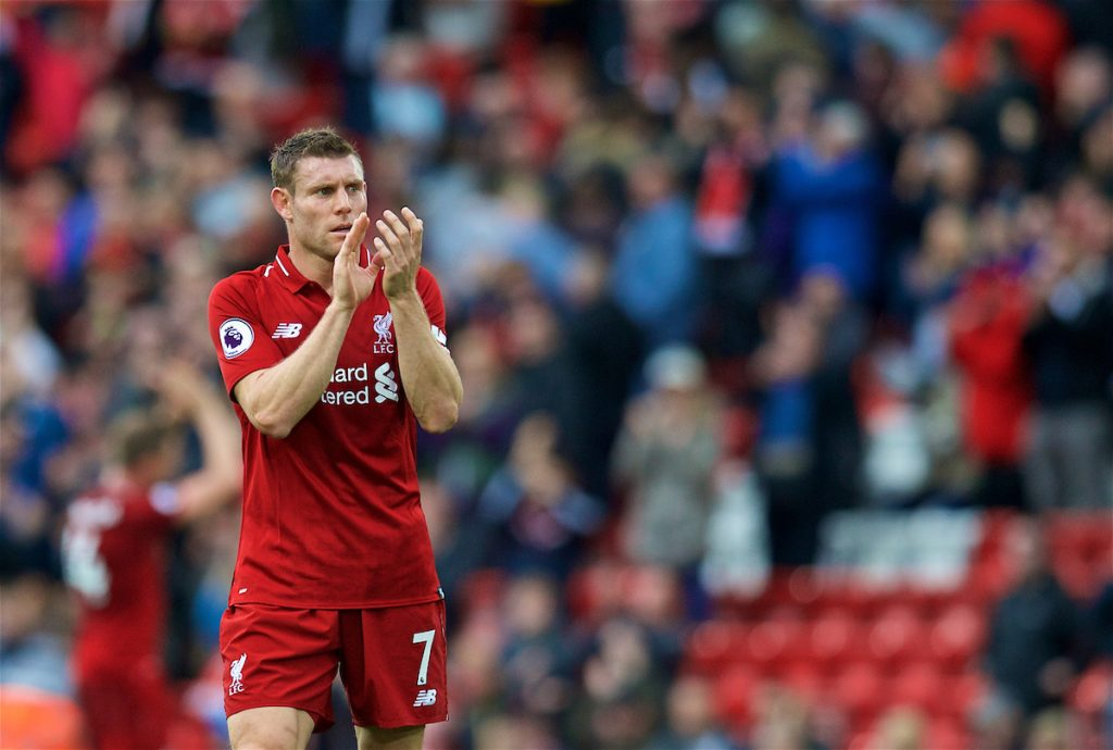 LIVERPOOL, ENGLAND - Saturday, September 22, 2018: Liverpool's substitute James Milner applauds the supporters after the FA Premier League match between Liverpool FC and Southampton FC at Anfield. Liverpool won 3-0. (Pic by Jon Super/Propaganda)