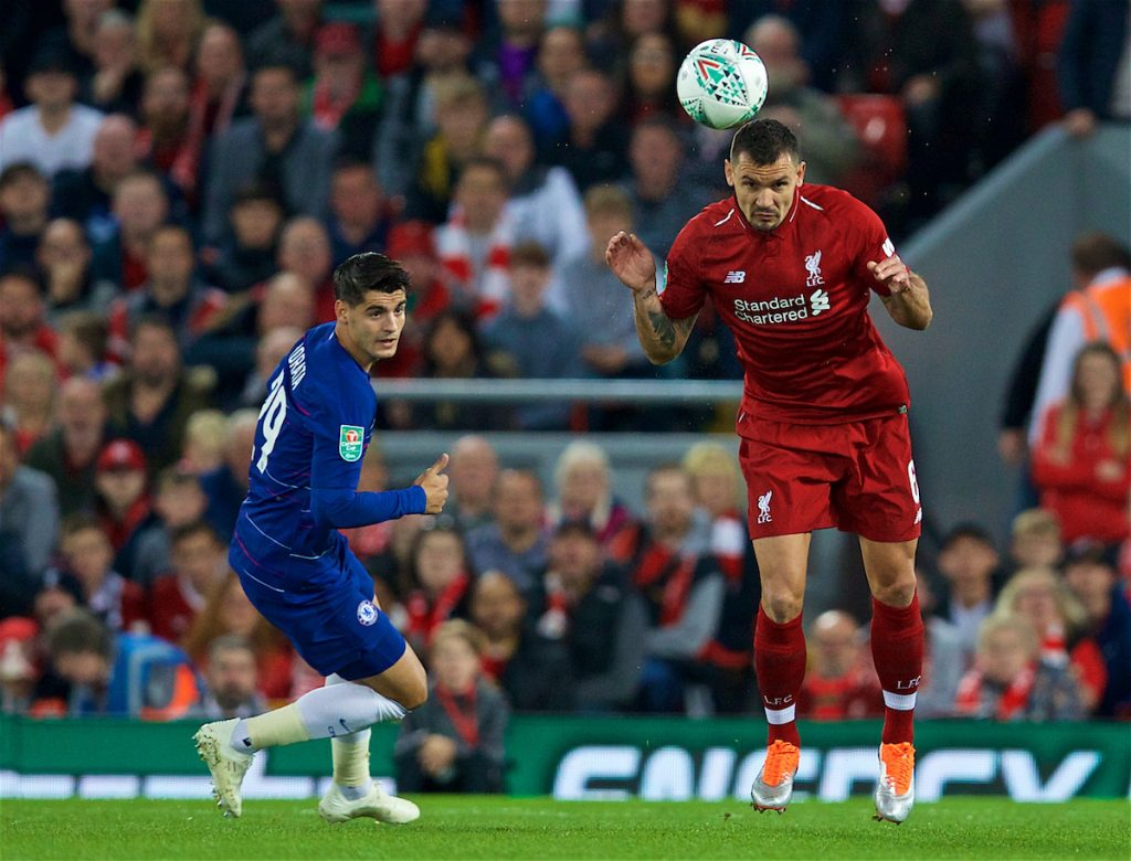 LIVERPOOL, ENGLAND - Wednesday, September 26, 2018: Liverpool's Dejan Lovren during the Football League Cup 3rd Round match between Liverpool FC and Chelsea FC at Anfield. (Pic by David Rawcliffe/Propaganda)