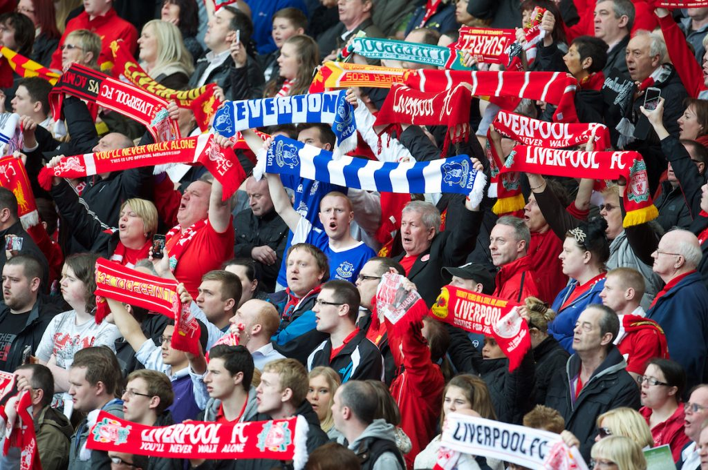 LIVERPOOL, ENGLAND - Monday, April 15, 2013: Liverpool and Everton supporters during the 24th Anniversary Hillsborough Service at Anfield. (Pic by David Rawcliffe/Propaganda)
