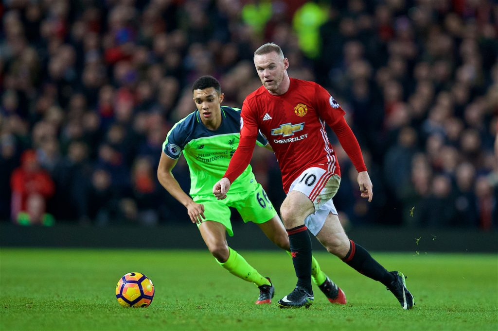 MANCHESTER, ENGLAND - Sunday, January 15, 2017: Manchester United's captain Wayne Rooney in action against Liverpool's Trent Alexander-Arnold during the FA Premier League match at Old Trafford. (Pic by David Rawcliffe/Propaganda)