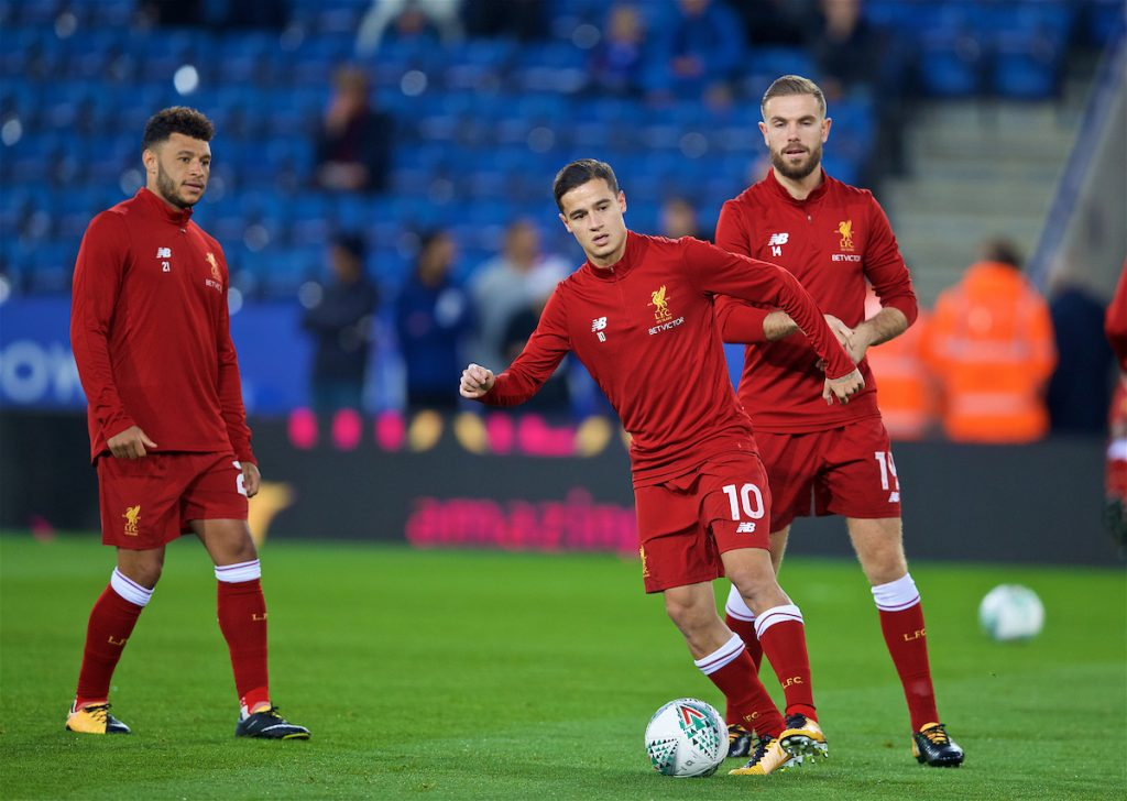 LEICESTER, ENGLAND - Tuesday, September 19, 2017: Liverpool's Alex Oxlade-Chamberlain, Philippe Coutinho Correia and captain Jordan Henderson warm-up before the Football League Cup 3rd Round match between Leicester City and Liverpool at the King Power Stadium. (Pic by David Rawcliffe/Propaganda)