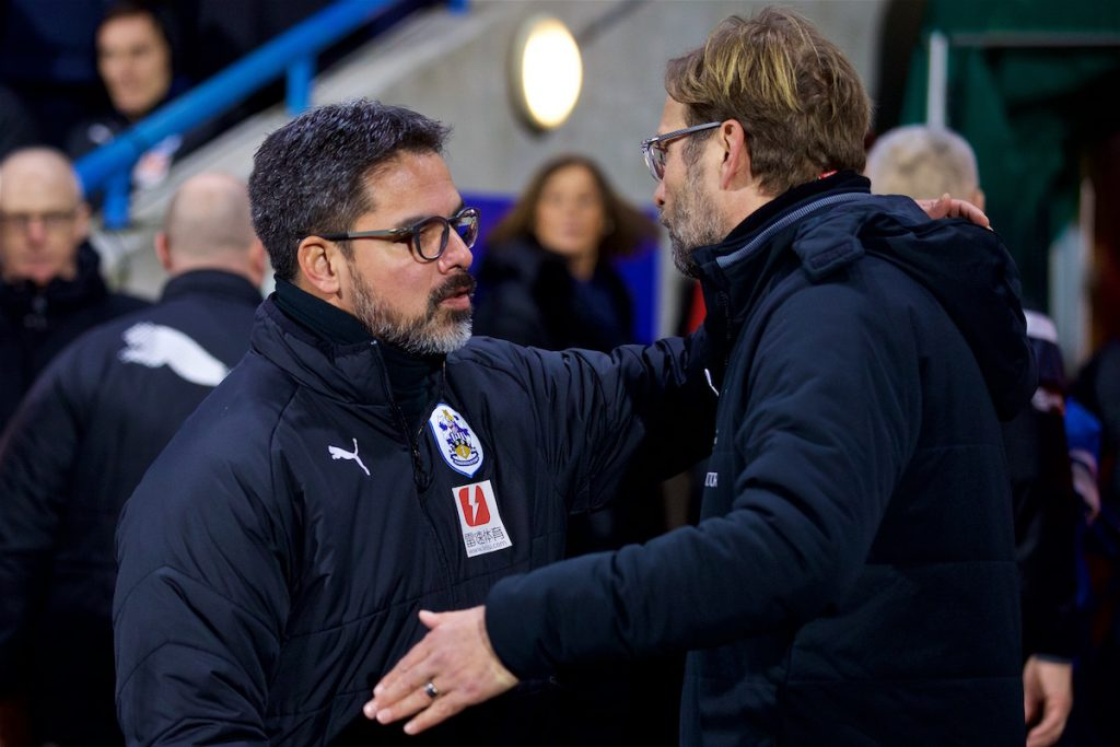 HUDDERSFIELD, ENGLAND - Tuesday, January 30, 2018: Liverpool's manager J¸rgen Klopp and Huddersfield Town's manager David Wagner before the FA Premier League match between Huddersfield Town FC and Liverpool FC at the John Smith's Stadium. (Pic by David Rawcliffe/Propaganda)