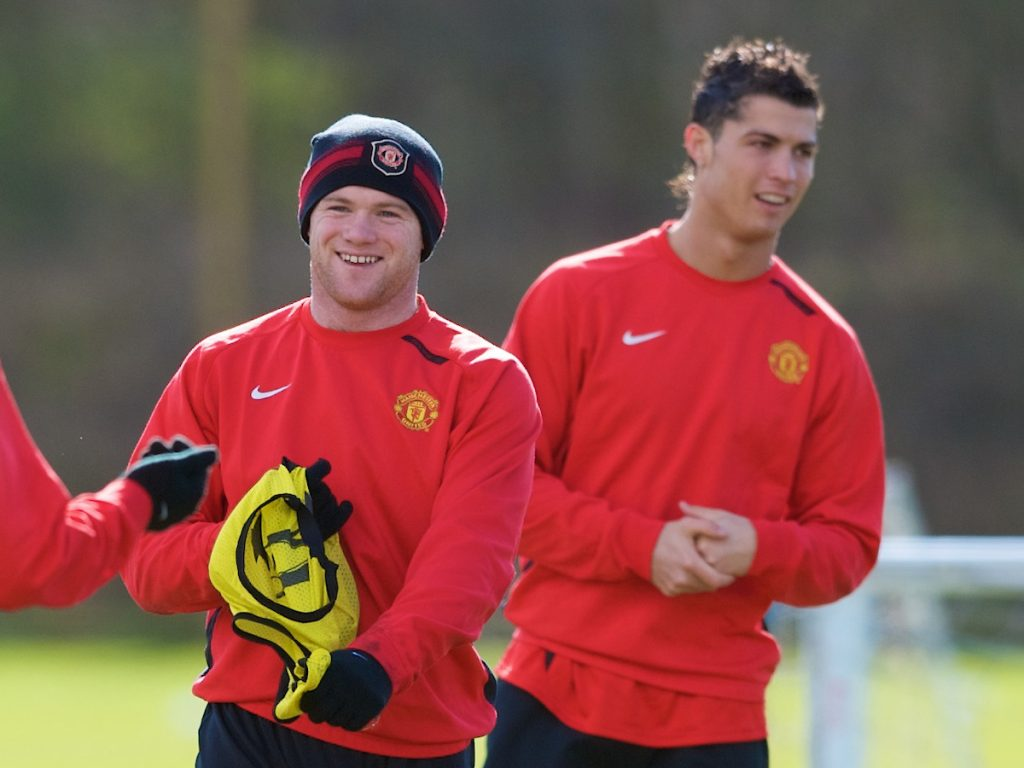 MANCHESTER, ENGLAND - Monday, March 3, 2008: Manchester United's Christiano Ronaldo and Wayne Rooney training at Carrington ahead of the UEFA Champions League First knockout round 2nd leg match against Olympique Lyonnais. (Photo by David Rawcliffe/Propaganda)