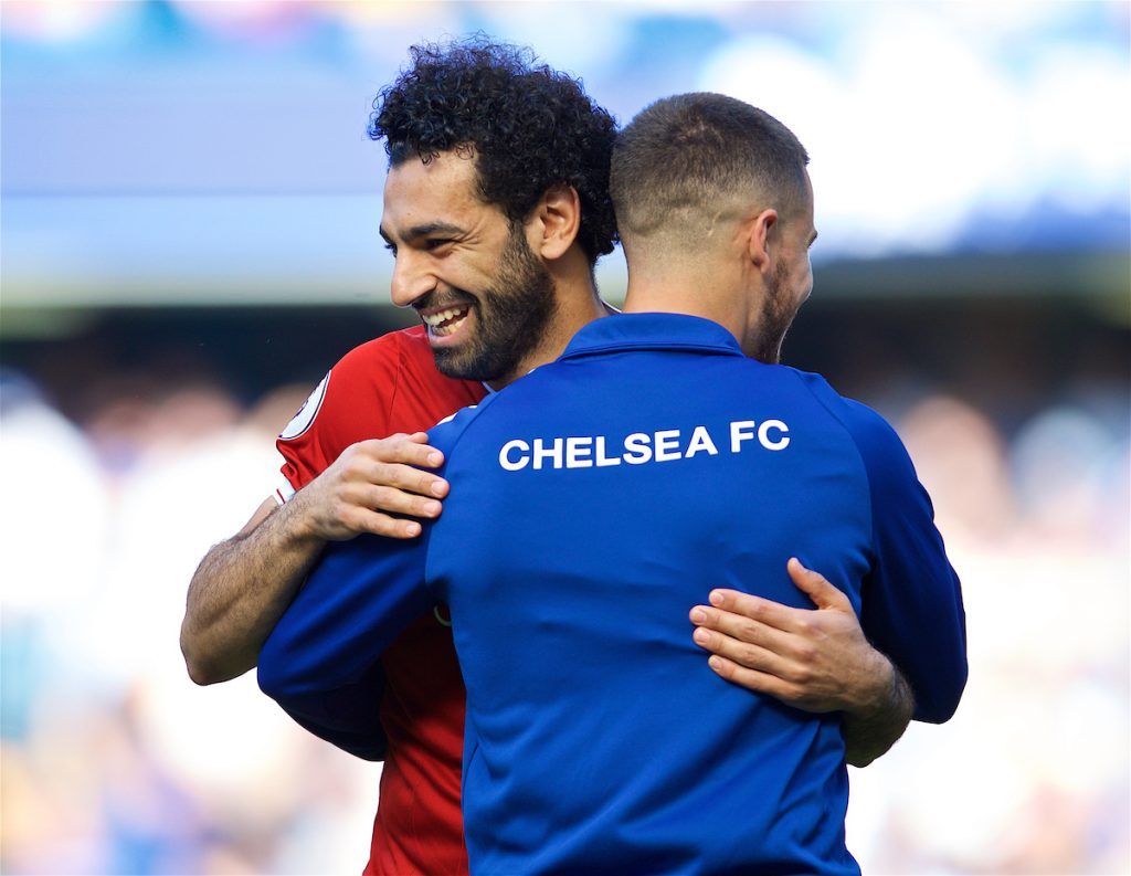 LONDON, ENGLAND - Sunday, May 6, 2018: Liverpool's Mohamed Salah embraces former team-mate Chelsea's Eden Hazard before the FA Premier League match between Chelsea FC and Liverpool FC at Stamford Bridge. (Pic by David Rawcliffe/Propaganda)