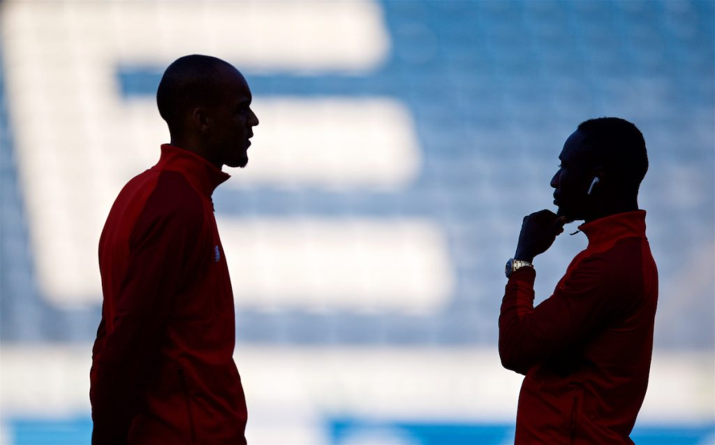 BLACKBURN, ENGLAND - Thursday, July 19, 2018: The silhouetted shapes of Liverpool's new signings Fabio Henrique Tavares 'Fabinho' (left) and Naby Keita before a preseason friendly match between Blackburn Rovers FC and Liverpool FC at Ewood Park. (Pic by David Rawcliffe/Propaganda)