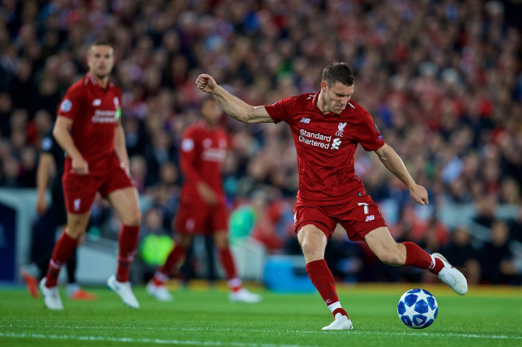 LIVERPOOL, ENGLAND - Tuesday, September 18, 2018: Liverpool's James Milner during the UEFA Champions League Group C match between Liverpool FC and Paris Saint-Germain at Anfield. (Pic by David Rawcliffe/Propaganda)