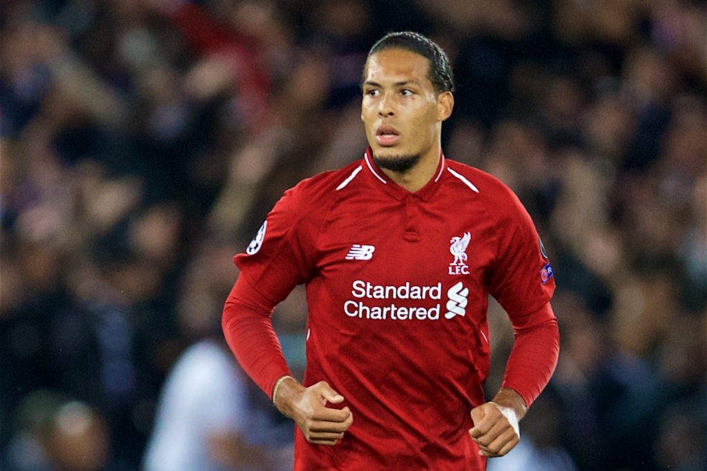LIVERPOOL, ENGLAND - Tuesday, September 18, 2018: Liverpool's Virgil van Dijk during the UEFA Champions League Group C match between Liverpool FC and Paris Saint-Germain at Anfield. (Pic by David Rawcliffe/Propaganda)