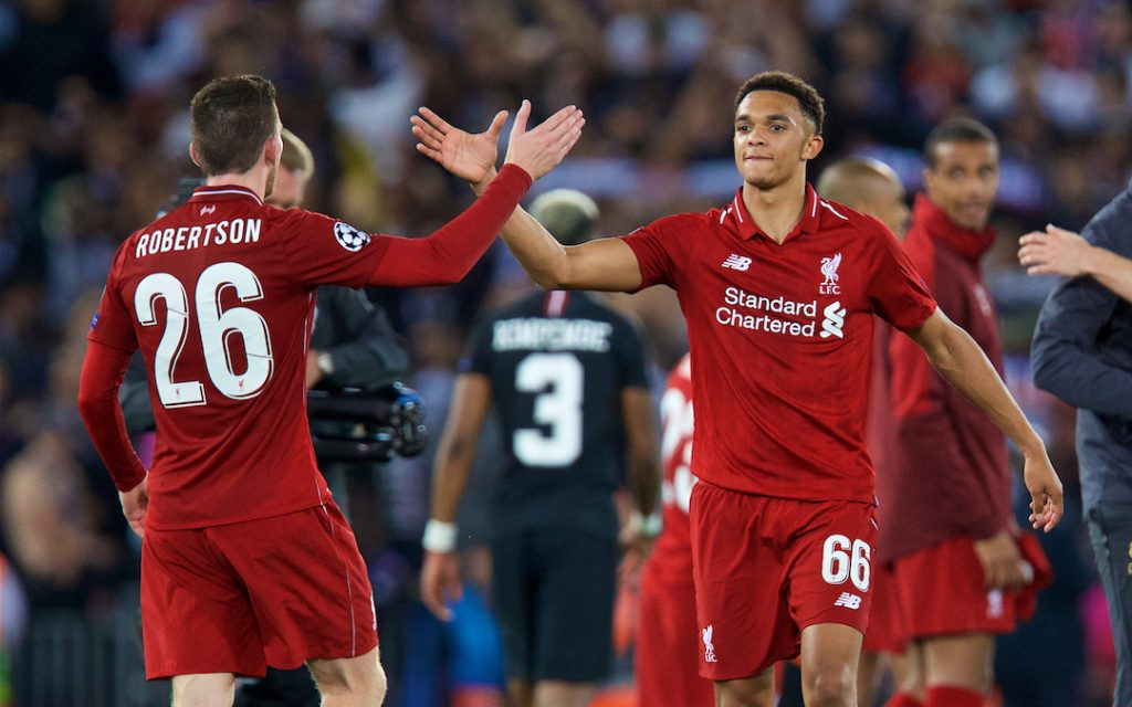 LIVERPOOL, ENGLAND - Tuesday, September 18, 2018: Liverpool's Trent Alexander-Arnold and Andy Robertson celebrate the victory after the UEFA Champions League Group C match between Liverpool FC and Paris Saint-Germain at Anfield. Liverpool won 3-2. (Pic by David Rawcliffe/Propaganda)