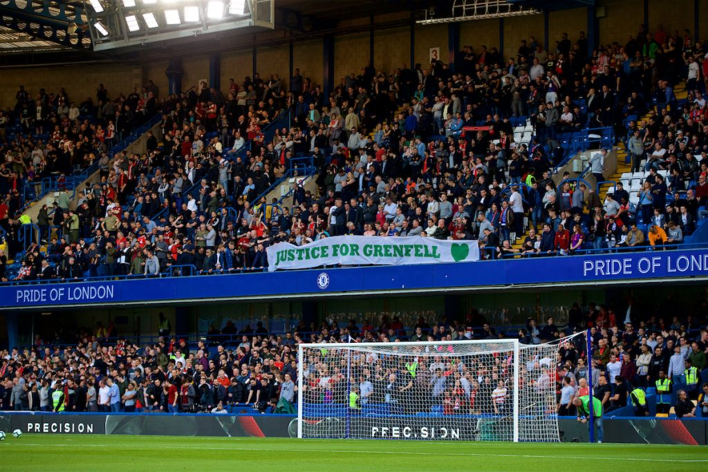 "LONDON, ENGLAND - Saturday, September 29, 2018: Liverpool supporters' banner ""Justice for Grenfell"" before the FA Premier League match between Chelsea FC and Liverpool FC at Stamford Bridge. (Pic by David Rawcliffe/Propaganda)"