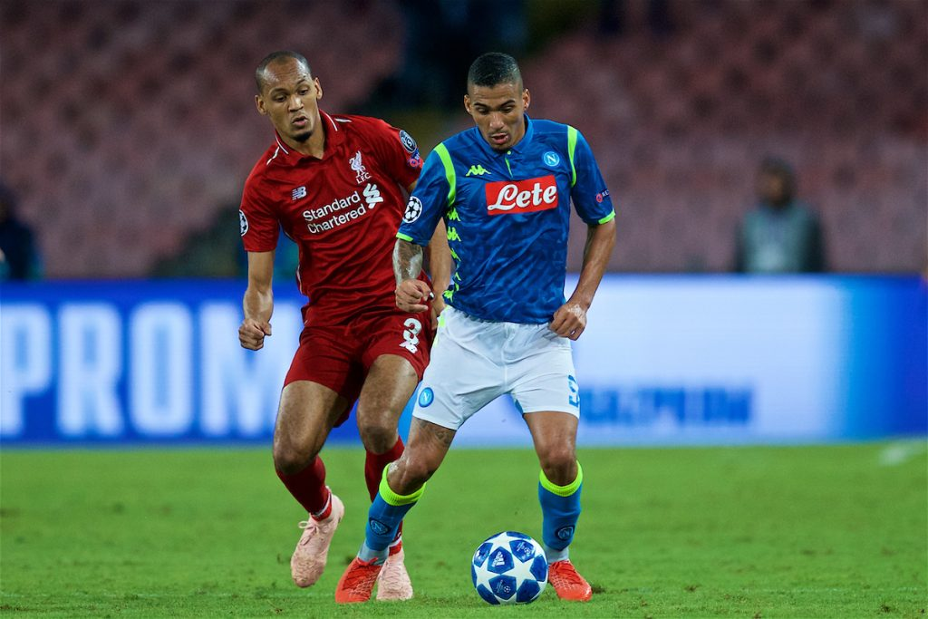 NAPLES, ITALY - Wednesday, October 3, 2018: Liverpool's Fabio Henrique Tavares 'Fabinho' (L) and Napoli's Allan Marques Loureiro during the UEFA Champions League Group C match between S.S.C. Napoli and Liverpool FC at Stadio San Paolo. (Pic by David Rawcliffe/Propaganda)