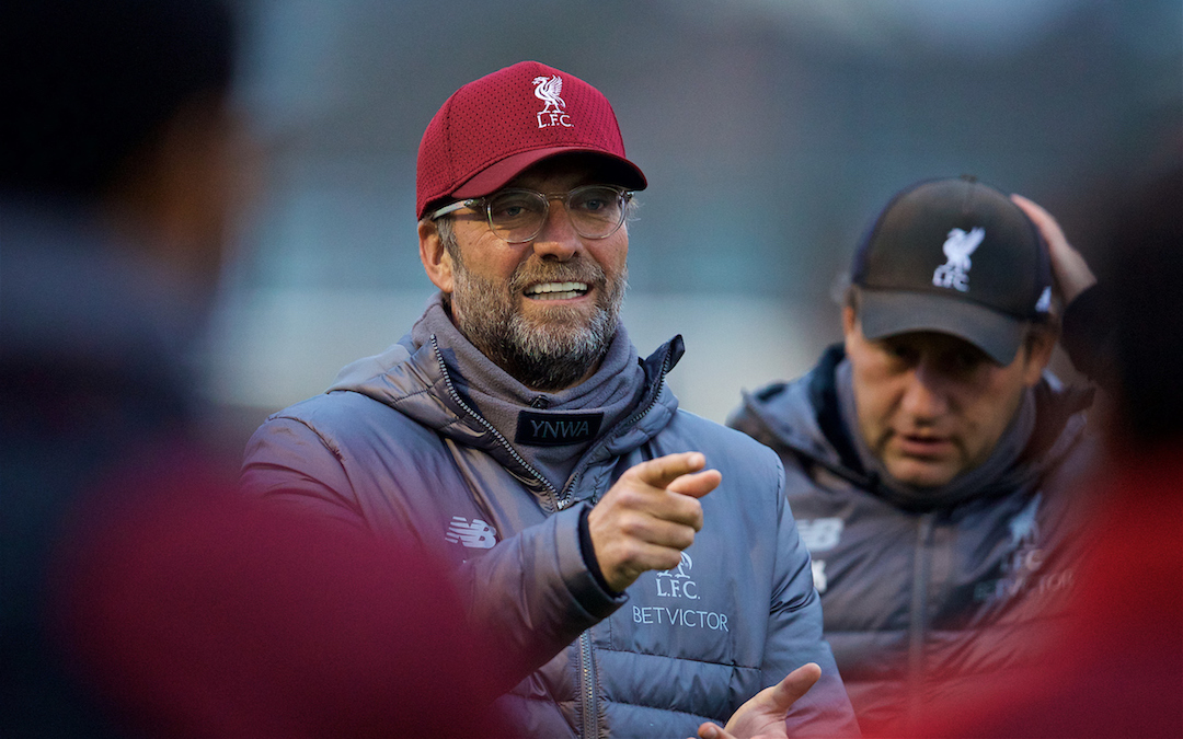 LIVERPOOL, ENGLAND - Tuesday, October 23, 2018: Liverpool's manager J¸rgen Klopp during a training session at Melwood Training Ground ahead of the UEFA Champions League Group C match between Liverpool FC and FK Crvena zvezda (Red Star Belgrade). (Pic by David Rawcliffe/Propaganda)