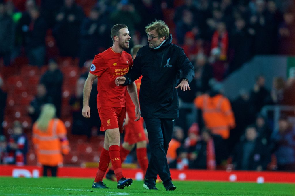 LIVERPOOL, ENGLAND - Tuesday, December 27, 2016: Liverpool's manager Jürgen Klopp and captain Jordan Henderson celebrate after the 4-1 victory over Stoke City during the FA Premier League match at Anfield. (Pic by David Rawcliffe/Propaganda)