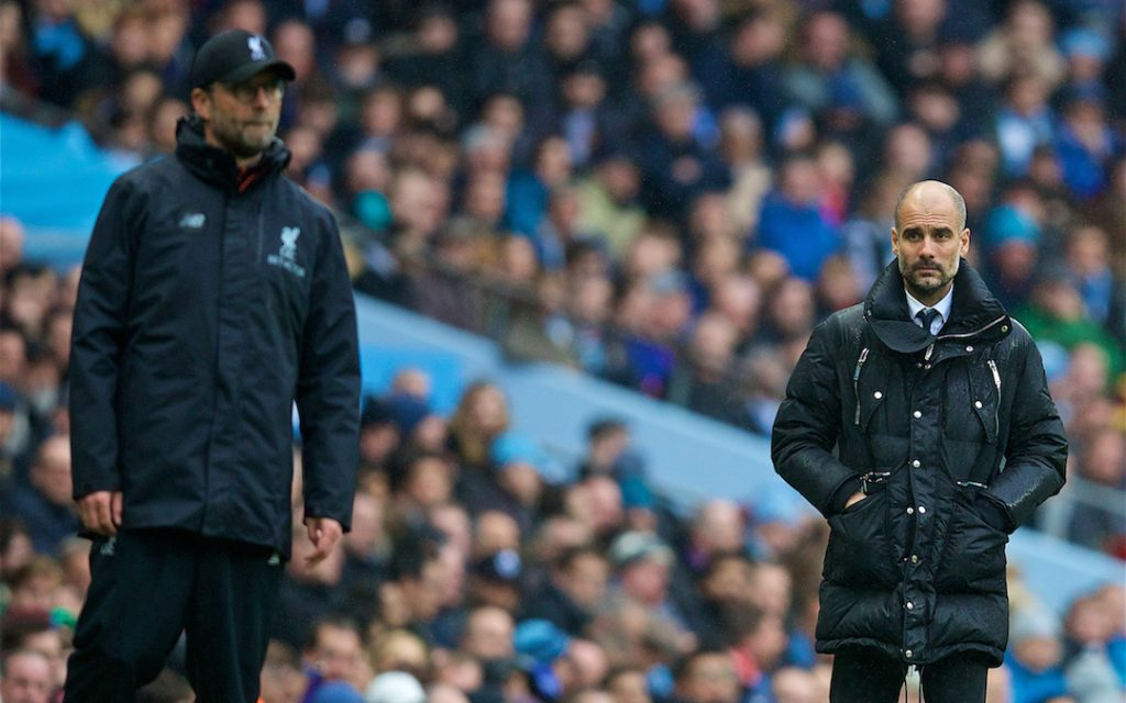 MANCHESTER, ENGLAND - Sunday, March 19, 2017: Manchester City's manager Pep Guardiola and Liverpool's manager J¸rgen Klopp during the FA Premier League match at the City of Manchester Stadium. (Pic by David Rawcliffe/Propaganda)