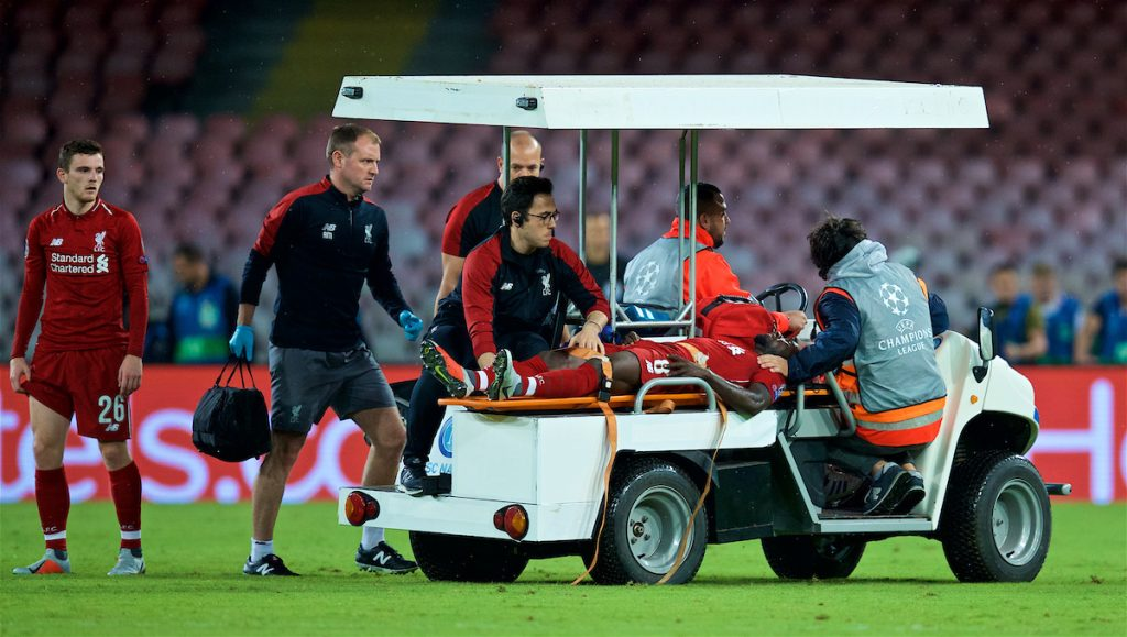 NAPLES, ITALY - Wednesday, October 3, 2018: Liverpool's injured Naby Keita is carried off the field on a stretcher during the UEFA Champions League Group C match between S.S.C. Napoli and Liverpool FC at Stadio San Paolo. (Pic by David Rawcliffe/Propaganda)