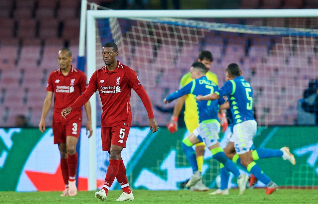 NAPLES, ITALY - Wednesday, October 3, 2018: Liverpool's Georginio Wijnaldum looks dejected as Napoli score an injury time winning goal during the UEFA Champions League Group C match between S.S.C. Napoli and Liverpool FC at Stadio San Paolo. Napoli won 1-0. (Pic by David Rawcliffe/Propaganda)