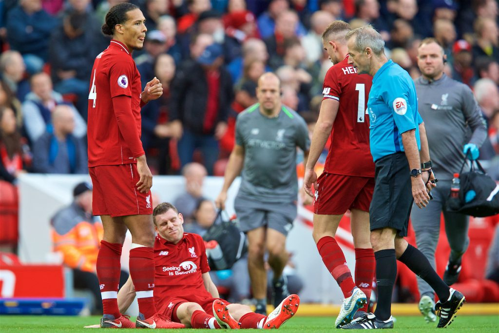 LIVERPOOL, ENGLAND - Sunday, October 7, 2018: Liverpool's James Milner goes down injured during the FA Premier League match between Liverpool FC and Manchester City FC at Anfield. (Pic by David Rawcliffe/Propaganda)