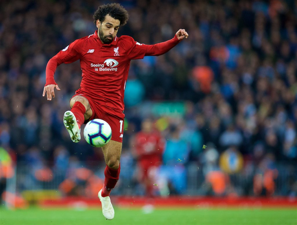 LIVERPOOL, ENGLAND - Sunday, October 7, 2018: Liverpool's Mohamed Salah during the FA Premier League match between Liverpool FC and Manchester City FC at Anfield. (Pic by David Rawcliffe/Propaganda)