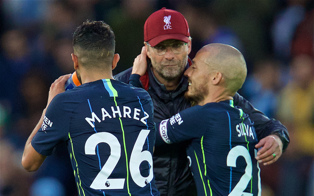 LIVERPOOL, ENGLAND - Sunday, October 7, 2018: Liverpool's manager J¸rgen Klopp (C) embraces Manchester City's Riyad Mahrez (L) and David Silva (R) after the FA Premier League match between Liverpool FC and Manchester City FC at Anfield. (Pic by David Rawcliffe/Propaganda)