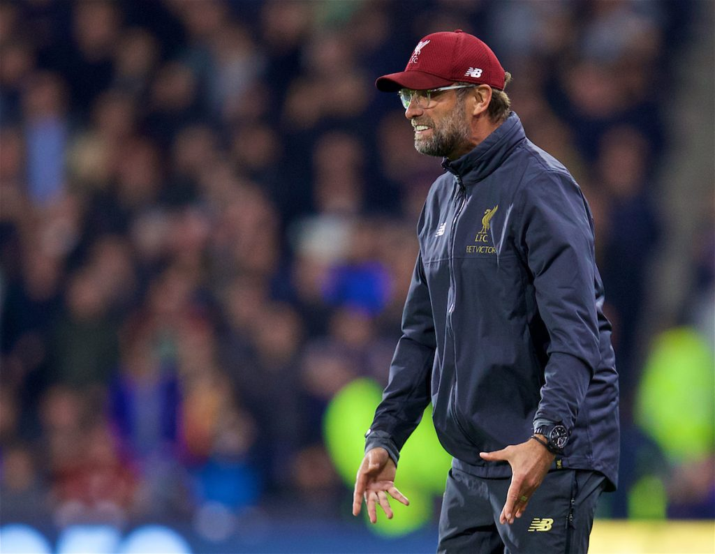HUDDERSFIELD, ENGLAND - Saturday, October 20, 2018: Liverpool's manager Jürgen Klopp reacts during the FA Premier League match between Huddersfield Town FC and Liverpool FC at Kirklees Stadium. (Pic by David Rawcliffe/Propaganda)