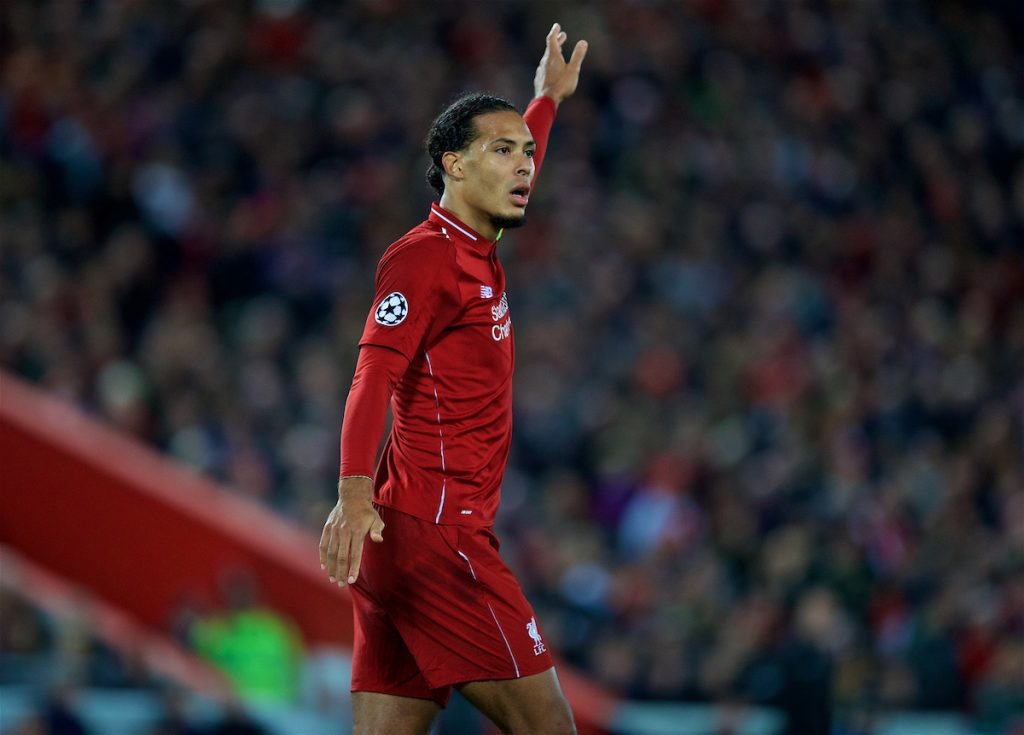 LIVERPOOL, ENGLAND - Wednesday, October 24, 2018: Liverpool's captain Virgil van Dijk during the UEFA Champions League Group C match between Liverpool FC and FK Crvena zvezda (Red Star Belgrade) at Anfield. (Pic by David Rawcliffe/Propaganda)