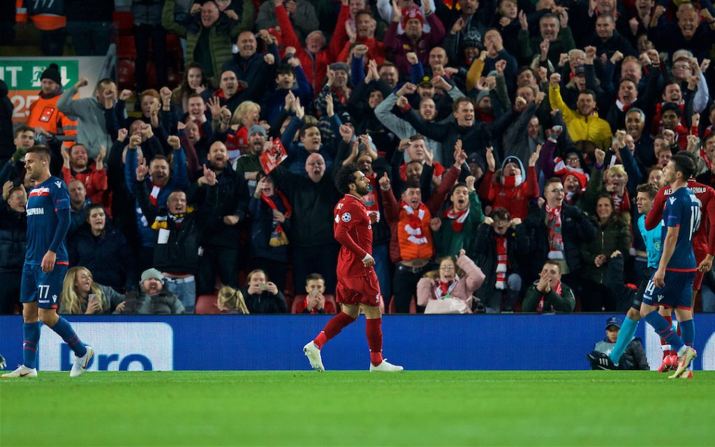 LIVERPOOL, ENGLAND - Wednesday, October 24, 2018: Liverpool's Mohamed Salah celebrates scoring the second goal during the UEFA Champions League Group C match between Liverpool FC and FK Crvena zvezda (Red Star Belgrade) at Anfield. (Pic by David Rawcliffe/Propaganda)