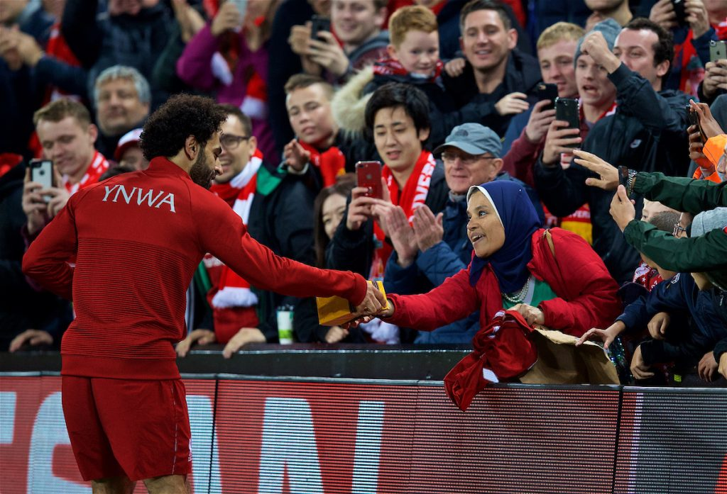 LIVERPOOL, ENGLAND - Wednesday, October 24, 2018: Liverpool's Mohamed Salah celebrates the victory with supporters after the UEFA Champions League Group C match between Liverpool FC and FK Crvena zvezda (Red Star Belgrade) at Anfield. Liverpool won 4-0. (Pic by David Rawcliffe/Propaganda)