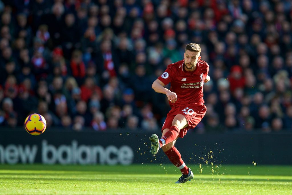 LIVERPOOL, ENGLAND - Saturday, October 27, 2018: Liverpool's Adam Lallana during the FA Premier League match between Liverpool FC and Cardiff City FC at Anfield. (Pic by David Rawcliffe/Propaganda)