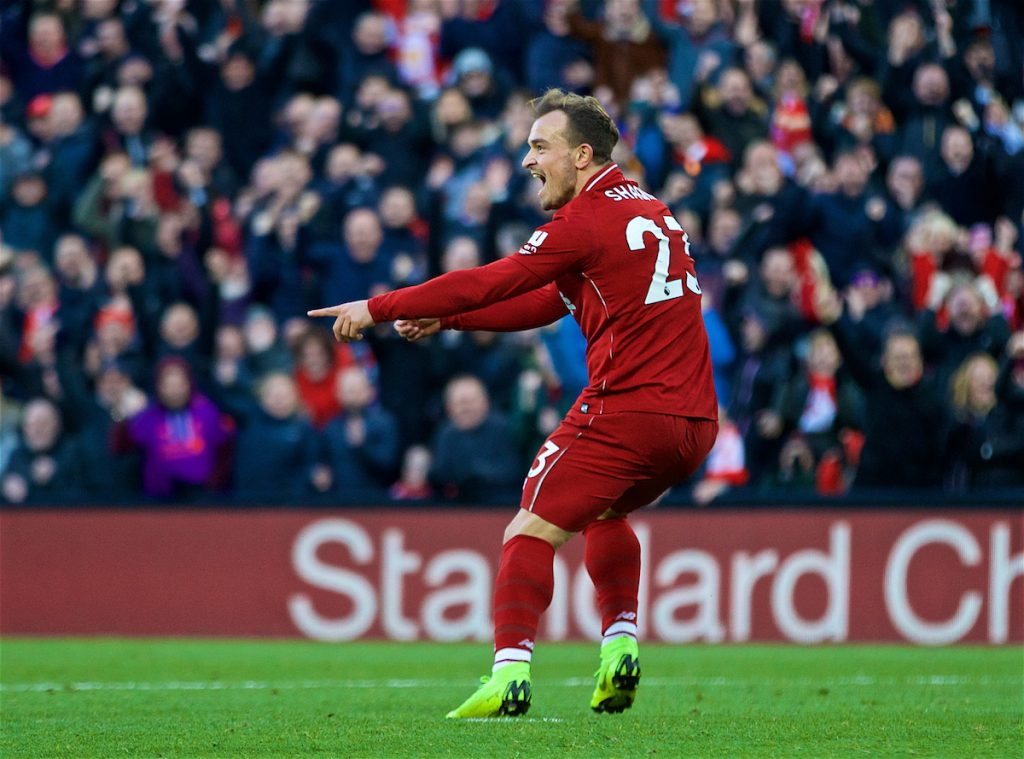 LIVERPOOL, ENGLAND - Saturday, October 27, 2018: Liverpool's Xherdan Shaqiri celebrates scoring the third goal during the FA Premier League match between Liverpool FC and Cardiff City FC at Anfield. (Pic by David Rawcliffe/Propaganda)