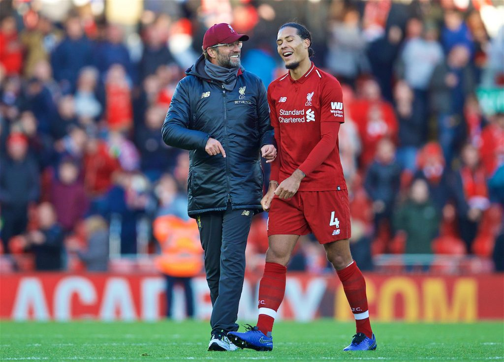 LIVERPOOL, ENGLAND - Saturday, October 27, 2018: Liverpool's manager Jürgen Klopp and captain Virgil van Dijk after the FA Premier League match between Liverpool FC and Cardiff City FC at Anfield. Liverpool 4-0. (Pic by David Rawcliffe/Propaganda)