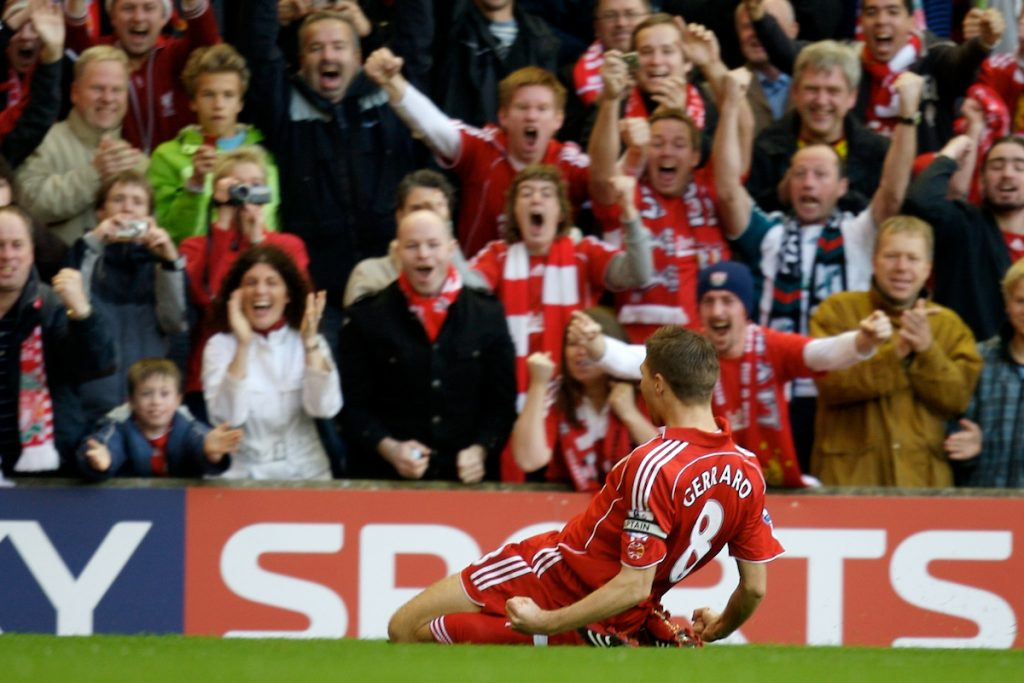 LIVERPOOL, ENGLAND - Sunday, October 28, 2007: Liverpool's captain Steven Gerrard MBE celebrates scoring the opening goal against Arsenal in front of the fans during the Premiership match at Anfield. (Photo by David Rawcliffe/Propaganda)