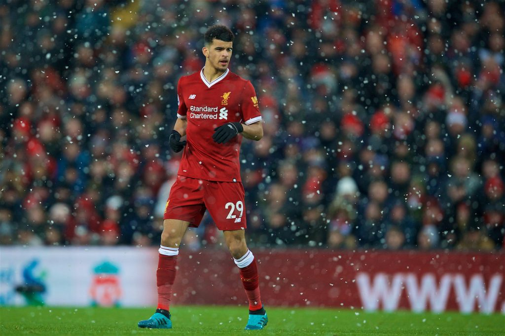 LIVERPOOL, ENGLAND - Sunday, December 10, 2017: Liverpool's Dominic Solanke during the FA Premier League match between Liverpool and Everton, the 229th Merseyside Derby, at Anfield. (Pic by David Rawcliffe/Propaganda)