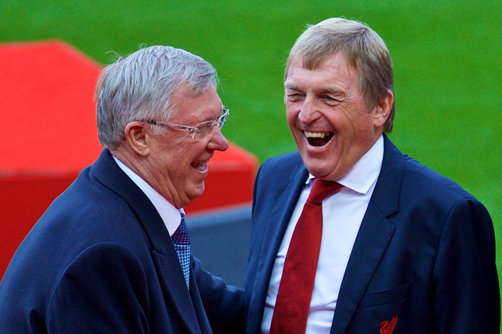 LIVERPOOL, ENGLAND - Friday, October 13, 2017: Kenny Dalglish shares a joke with former Manchester United manager Alex Ferguson after a ceremony to rename Liverpool FC's Centenary Stand the Kenny Dalglish Stand. (Pic by David Rawcliffe/Propaganda)