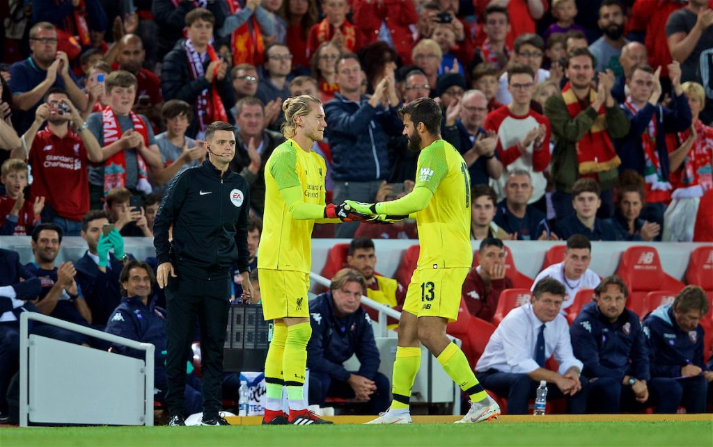 LIVERPOOL, ENGLAND - Tuesday, August 7, 2018: Liverpool's new signing goalkeeper Alisson Becker is replaced by substitute goalkeeper Loris Karius during the preseason friendly match between Liverpool FC and Torino FC at Anfield. (Pic by David Rawcliffe/Propaganda)