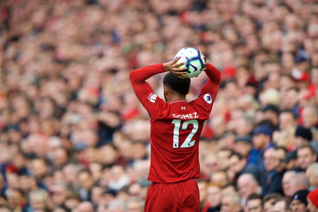 LIVERPOOL, ENGLAND - Sunday, October 7, 2018: Liverpool's Joe Gomez prepares to take a throw-in during the FA Premier League match between Liverpool FC and Manchester City FC at Anfield. (Pic by David Rawcliffe/Propaganda)